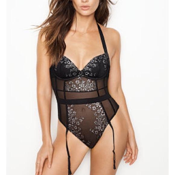57eccefa63 Victoria s Secret Black   Silver Halter Teddy